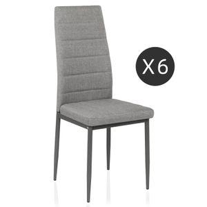 Mondeer 6er-set Esszimmerstühle, Esstischgruppe, Sitzgruppe aus Kunstleder, Grau