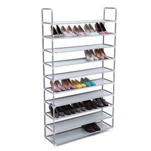 SONGMICS Schuhregal XXL 175 x 100 x 29 cm für 60 paar Schuhe 10 Ebenen aus Vlies Schuhständer Schuhschrank Schuhablage Grau LSR10G