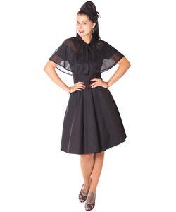 SugarShock Lubia 50er Jahre Petticoat Kleid m. Glitter Cape Umhang, Größe:XXL, Farbe:Schwarz