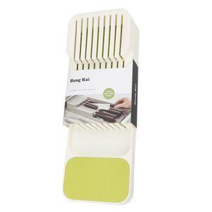 Besteck Organizer Messerblock Aufbewahrung Schublade Box Tablett Rack Klingensicherheitshalter Werkzeug Farbe: Weiß,