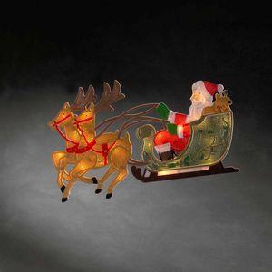 """KONSTSMIDE 2853-010, LED Fensterbild, """"Rentier mit Weihnachtsmann und Schlitten"""", 20 warm weiße Dioden, 230V, Innen, weißes Kabel"""