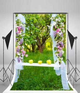 PKQWTM 150x220 cm Frühling Hintergrund Blumen Vine White Curtain Äpfel Bäume Grasfeld Natur Hochzeit Fotografie Hintergrund Mädchen Prinzessin Foto Stu