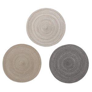 3 Stück Natürliche Runde Geflochtene Tischset Wärmeisolation Tischmatte Esstische