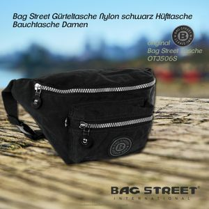 Bag Street Nylon Tasche Damen Herren Gürteltasche schwarz 27x10x16 OTJ506S