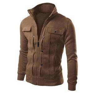 Herren Slim Designed Revers Cardigan Mantel Jacke Größe:M,Farbe:Taupe