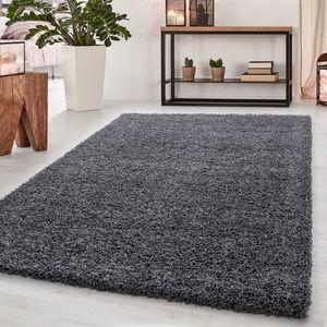 Teppich Hochflor Teppich Dream Shaggy Teppich einfarbig wohnzimmer Teppich, Farbe:GRAU,60 cm x 110 cm