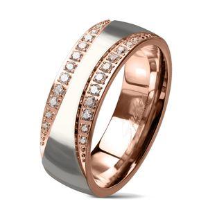 viva-adorno Gr. 60 (19,1 mm Ø) Edelstahl Damen Ring Fingerring Verlobungsring Rosegold Silber Kristall RS60