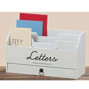 Briefablage Holz Weiß Postablage Briefhalter 30 x 11 x 18 cm