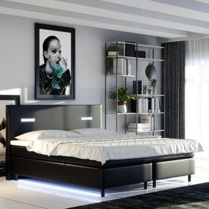 Selsey - Boxspringbett ANDILLA Doppelbett mit Kunstlederbezug in Schwarz mit Topper und LED-Beleuchtung, 140x200 cm