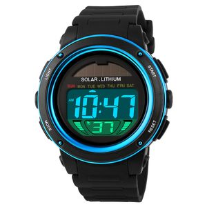SKMEI Solar Powered Digital Maenner Frauen Sprots grosse Zifferblatt 5ATM wasserdicht-Multifunktions Uni Armbanduhr mit Chronograph Alarm Hintergrundbeleuchtung,Blau