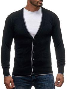 Herren Cardigan Feinstrick Strickweste Strickjacke mit Knopfleiste, Farben:Schwarz-2, Größe Pullover:XL