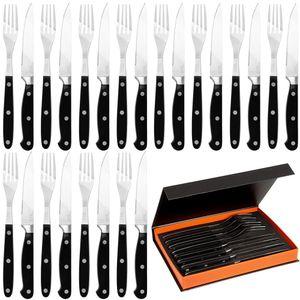 Deuba 24 tlg Steakbesteck Set mit Wellenschliff Edelstahl rostfrei Steakmesser spülmaschinengeeignet mit Box 12 Personen