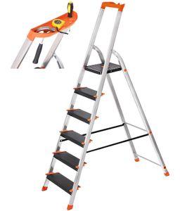 SONGMICS Leiter 6 Stufen, max. statische Belastbarkeit 150 kg, 12 cm breite Stufen, Mehrzweckleiter, Aluleiter, Stehleiter, Werkzeugschale, Klappleiter, rutschfest, Rheinland GS-Zertifikat, erfüllt EN131 GLT06BK