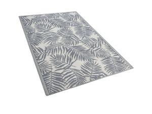 Outdoor Teppich Hellgrau Weiß Polypropylen 120 x 180 cm Palmen Jacquardgewebt Rechteckig