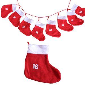 Adventskalender Socken rot zum Befüllen