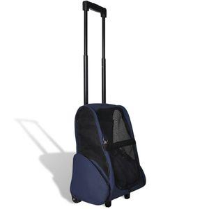 Multifunktionaler Haustiertrolley Zusammenfaltbar Haustier-Buggy Blau 40 x 25 x 53 cm