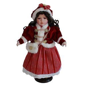 40cm 16inch Porzellan Mädchenpuppe mit Rotem Kleid Wohnkultur Sammlungen Geschenk