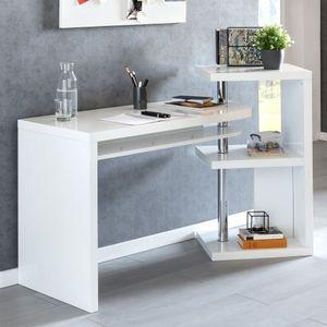WOHNLING Schreibtisch MARCIE 145x50x94 cm Bürotisch mit Regal Weiß Hochglanz | Winkelschreibtisch Schwenkbar Massiv | Computertisch mit Ablage | Chefschreibtisch mit Ordnerregal Modern