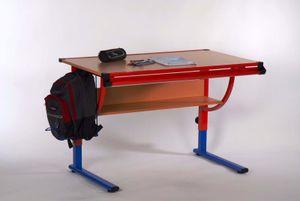 """Schreibtisch Schülertisch Kinderschreibtisch Tisch """"Stendal I"""" Buche/rot / blau"""