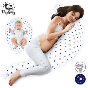 Stillkissen Schwangerschaftskissen zum Schlafen Pregnancy Pillow Seitenschläferkissen Lagerungskissen für Baby Weiß mit dunkelblauen Sternen