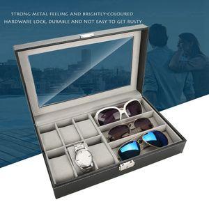 Aufbewahrungsbox Uhrenbox Brillenkoffer Uhrenkasten Für 6 Uhren&3 Sonnenbrillen Kunstleder DE
