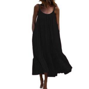 Einfarbiges Maxikleid Mit Schnürung Für Damen Für Den Sommer In Übergröße,Farbe: Schwarz,Größe:XL