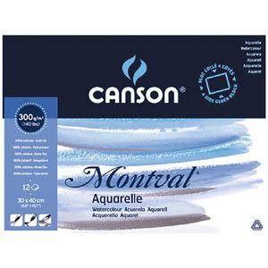"CANSON Aquarellblock ""Montval"" rundum geleimt 300 x 400 mm 12 Blatt"