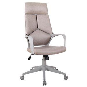 SixBros. Bürostuhl Moderner Schreibtischstuhl, hohe Rückenlehne, Chefsessel mit Armlehnen, ergonomischer Drehstuhl mit Stufenloser Höhenverstellung, Kunstleder PU, braun/grau 0898H/8060