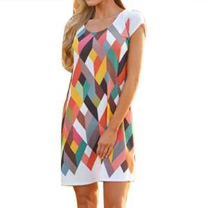 Lässiges Sommer-Kurzarm-O-Neck-Minikleid mit Diamantdruck für Damen Größe:XL,Farbe:Bunt