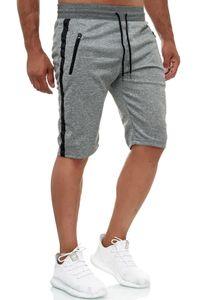 Herren Jogging Shorts Bermuda Aktiv Sweat Pants Zip Taschen Sporthose, Farben:Grau, Größe Hosen:M
