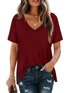 Damen Lässige Einfarbiges V-Ausschnitt kurzärmeliges T-Shirt,Rot,S