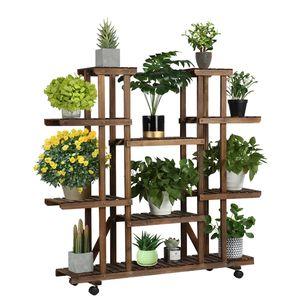 Yaheetech Pflanzenregal Balkon Blumenregal Outdoor Blumentreppe Holz Blumenständer mehrstöckig 124,5 x 33 x 120 cm