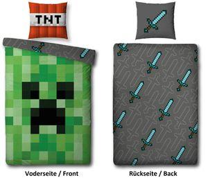 Bettwäsche Set Minecraft  80 x 80 cm 135 x 200cm grün 100% Baumwolle Linon