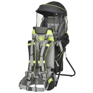 HOMCOM Kraxe Kindertrage für Reise Kinderrückentrage mit Sonnenschutz für 6-36 Monate Tragesitz bis 20 kg Aluminium Oxford Grün+Schwarz 38 x 77 x 87,5 cm