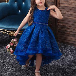 Mädchen Kinder Brautjungfernkleid Baby Partykleid Hochzeit Tütükleid Prinzessin,Farbe:Blau,Größe:6-7 Jahre