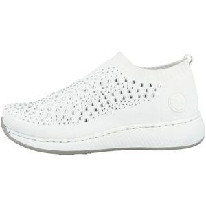 Rieker N5532 Damen Schuhe Halbschuhe Slipper Glitzersteine, Größe:38 EU, Farbe:Weiß