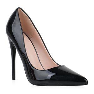 Mytrendshoe Damen Pumps High Heels Stiletto Elegante Schuhe Absatzschuhe 832053, Farbe: Schwarz, Größe: 38
