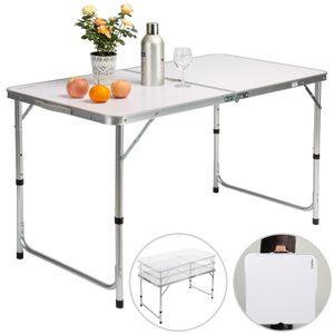 Casaria Campingtisch Klapptisch Alu klappbar mit Tragegriff 120 x 60 x 70 cm Gartentisch Camping Garten Tisch, Farbe:weiß