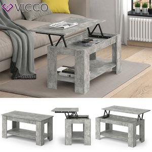 VICCO Couchtisch LORENZ höhenverstellbar Beton Sofatisch Kaffetisch Wohnzimmer Tisch