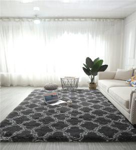Hochflor Teppich Wohnzimmerteppich Langflor Teppiche für Wohnzimmer flauschig Shaggy Schlafzimmer Bettvorleger Outdoor Carpet (160 x 230 cm, Grau mit marokkanisches Muster)