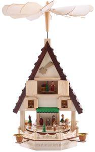 BRUBAKER Weihnachtspyramide 49 cm - Weihnachtskrippe auf 4 Etagen - Kerzenpyramide mit 4 Kerzenhaltern aus Metall - Holz naturfarben - handbemalte Figuren
