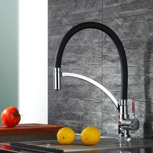 Küchenarmatur Schwarz Wasserhahn Küche Messing Spiralfederarmatur Armatur Küche Schwarz 360° drehbar Mischbatterie Küche