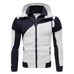 Herren Doppelreißverschluss-Kapuzenjacke warme Winter-Kapuzenjacke,Farbe: Weiß,Größe:S