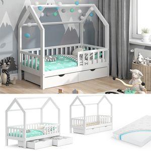 VitaliSpa Kinderbett Hausbett Spielbett Wiki 80x160 inkl Matratze 2 Schubladen
