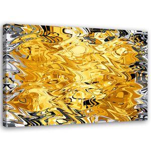 Wanddeko abstraktes Muster Leinwandbild Kunstdruck Gelb 60x40 cm