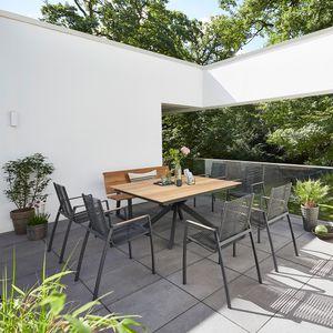 Diamond Garden Lyon Gartentisch Edelstahl Teak Fase 150x150 cm