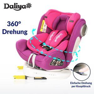 Daliya Sedion Kinderautositz 0-36KG 360° Pink, mitwachsender Autositz, Kindersitz GR. 0+1+2+3, Isofix Fix, Top Tether, 5 Punkt Sicherheitsgurt, incl. Sonnenverdeck, 2x Isofix Einbauhilfe…