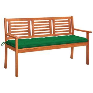 vidaXL 3-Sitzer-Gartenbank mit Auflage 150 cm Massivholz Eukalyptus
