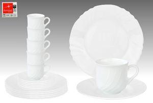 EBRO Kaffeeservice, 18tlg., Tassen + Dessertteller + Untertasse, Weiß, Opal-Hartglas