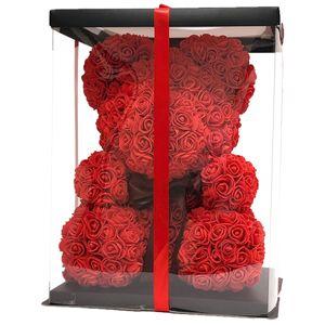 Geschenk Rosenbär  Rose Bear Flower Wedding Party Love Teddy 40cm mit Box Rot